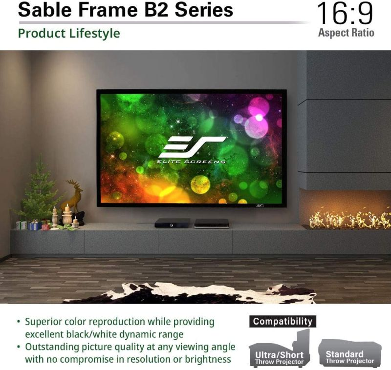 Elite Screens Sable Frame B2 Projector Screen - Best Projector Screen for Indoor Use