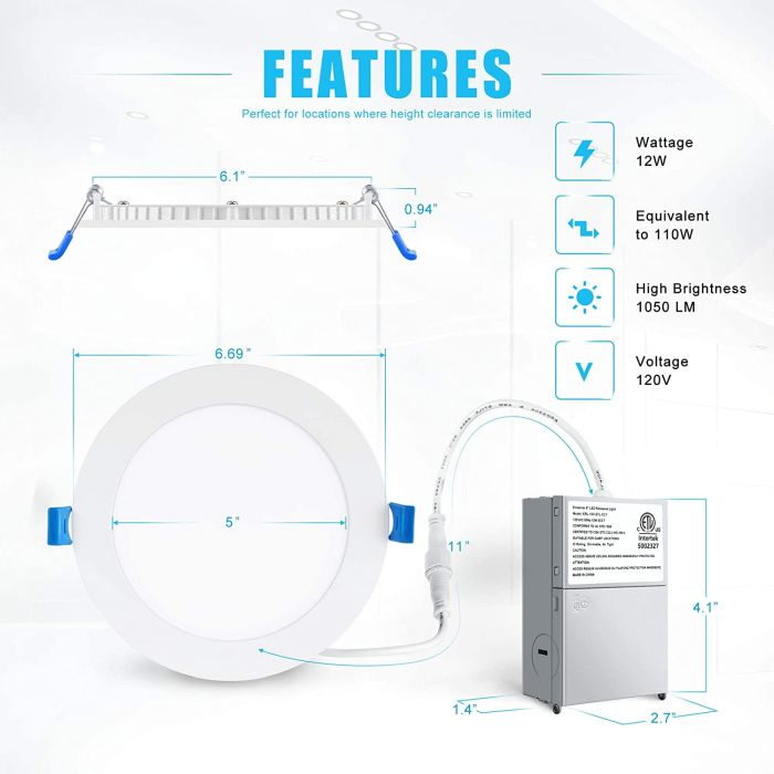 Ensenio Ultra-Thin LED Recessed Ceiling Light