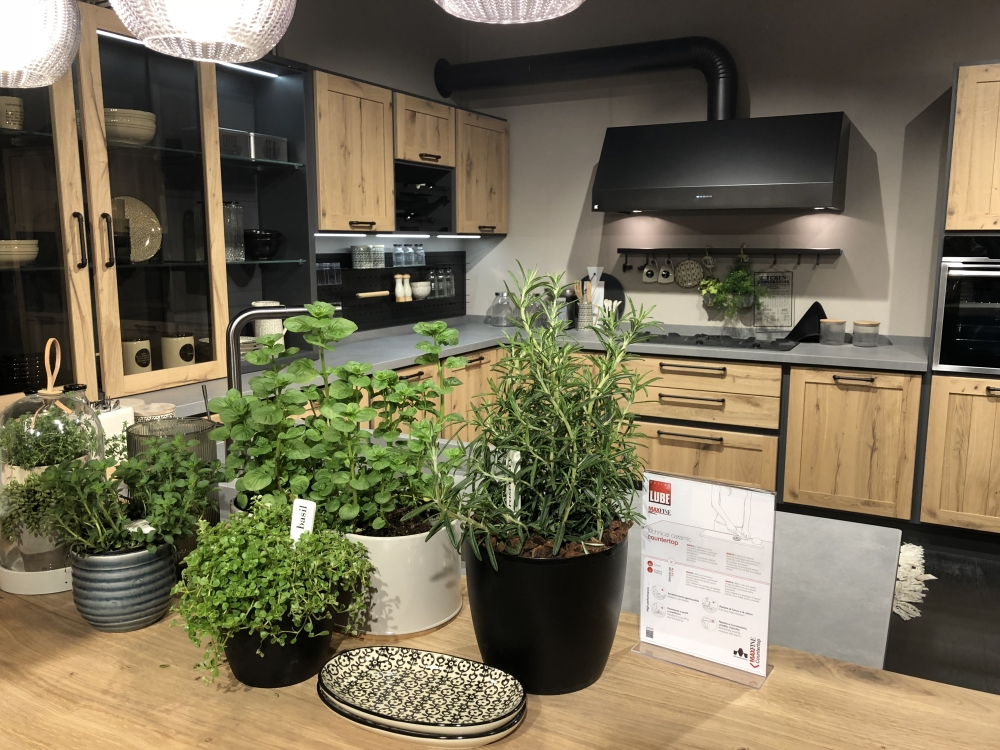 Decorate the kitchen coutnertop with plants