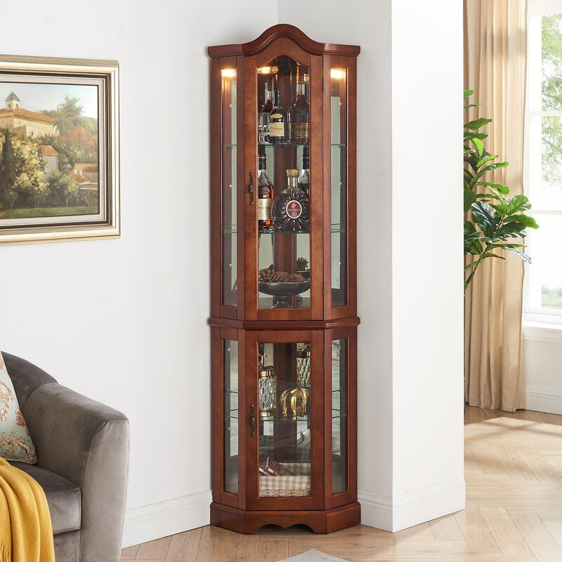Kuehn Lighted Corner Curio Cabinet