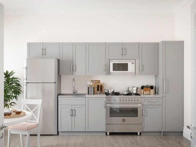 Match Your Fridge to the Gray Kitchen Cabinets