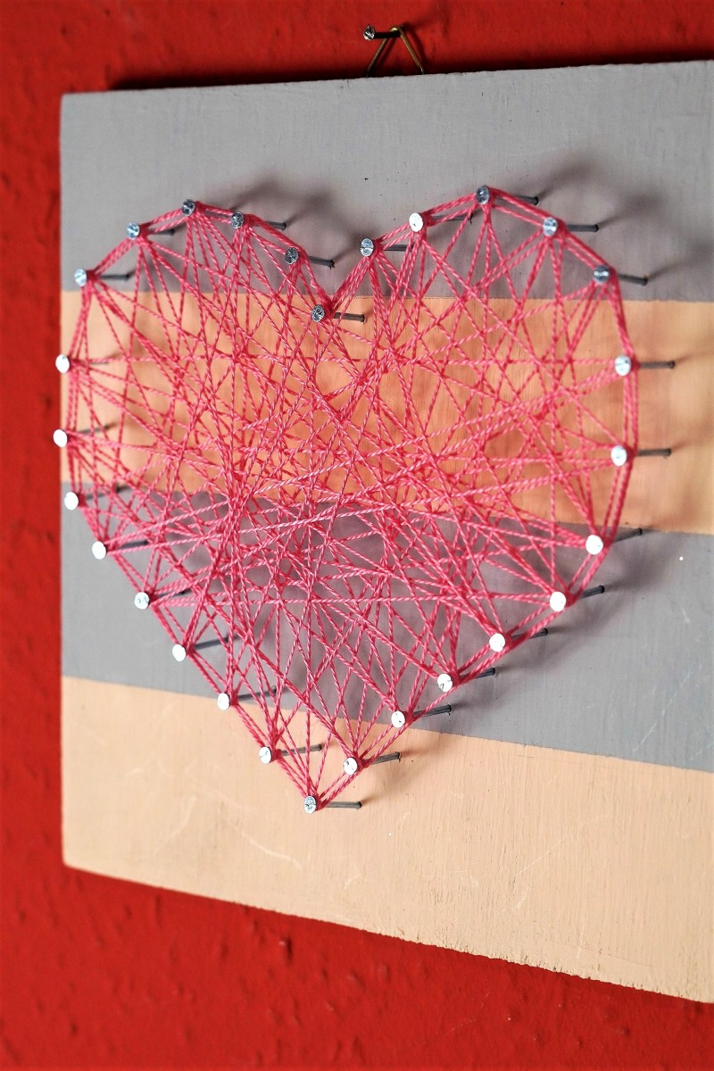 Simple Heart-Shaped Nail String Art Perfect For Beginner DIYers