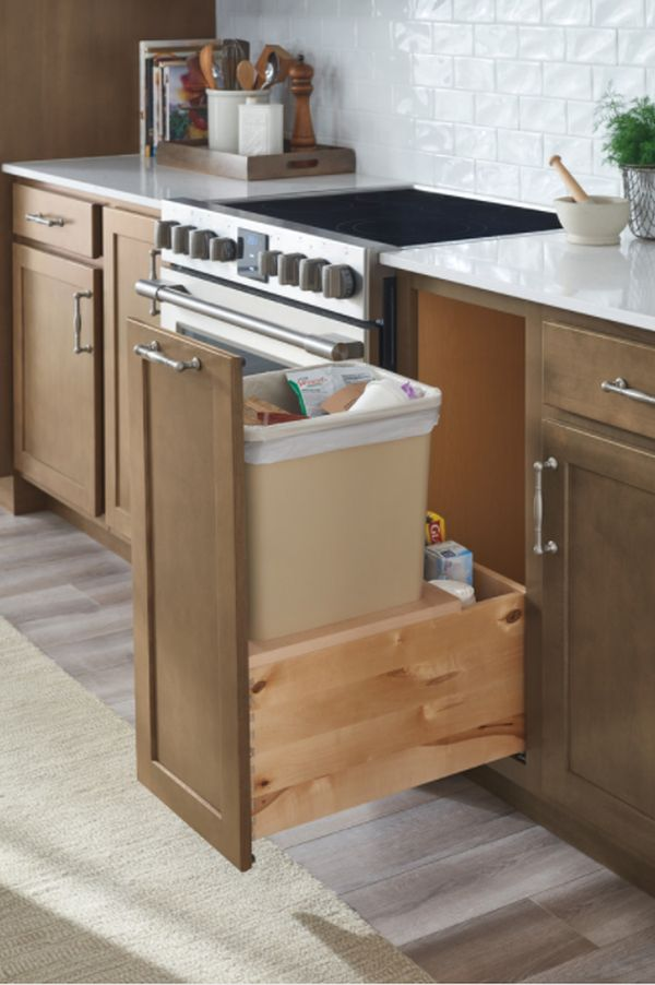 Tall-Standing Pull-Out Trash Can Cabinet