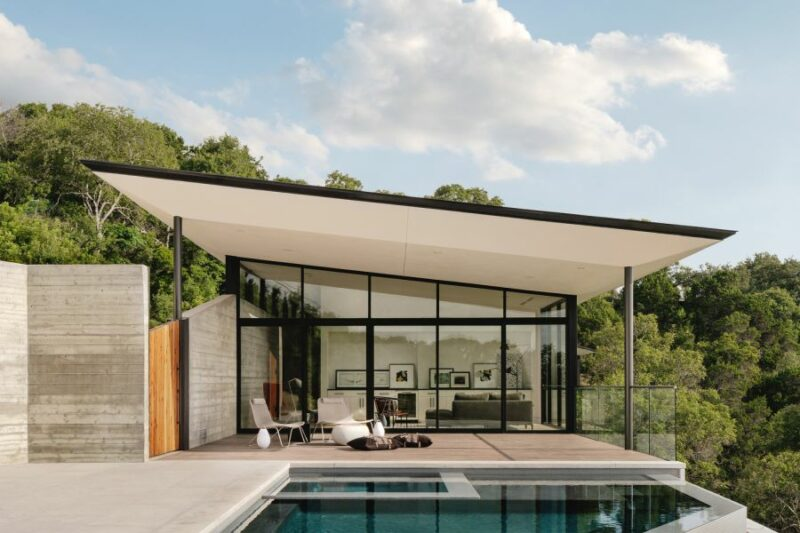 House Built On An Extreme Slope Overlooks The Magnificent Austin Canyons
