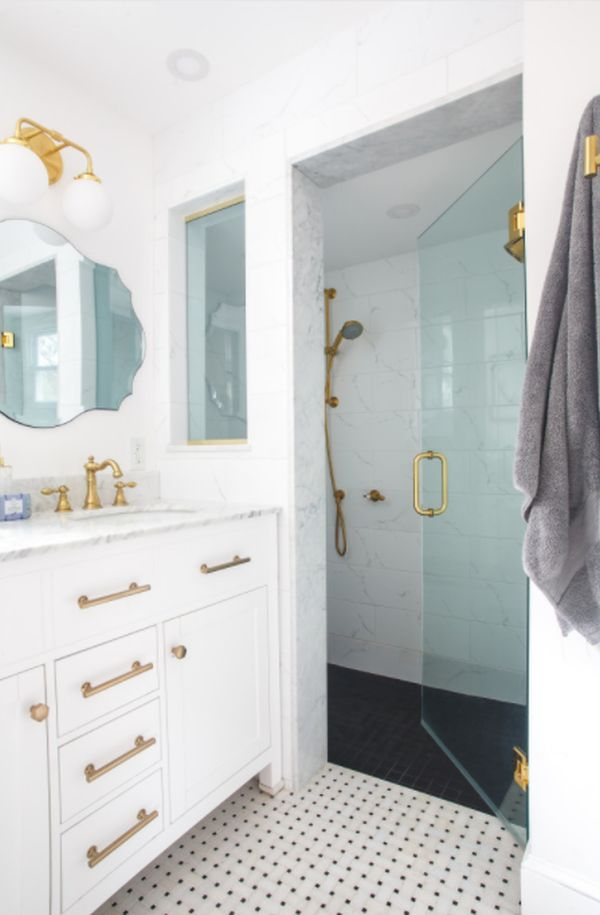 Marble tiles and gold fixtures