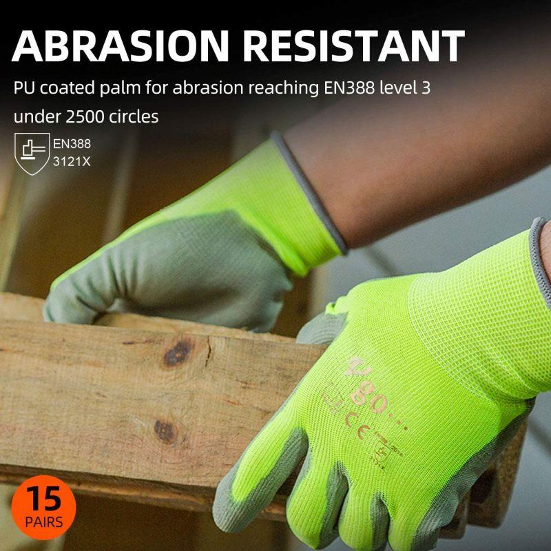 Vgo 15-Pairs Safety Work Gloves