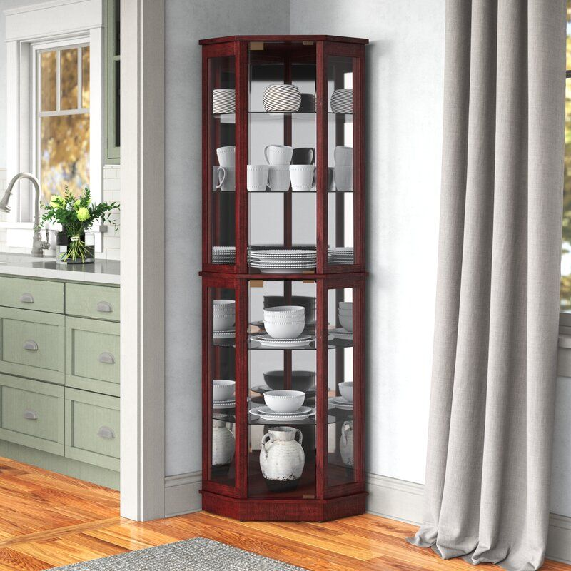 Woolsey Lighted Corner Curio Cabinet