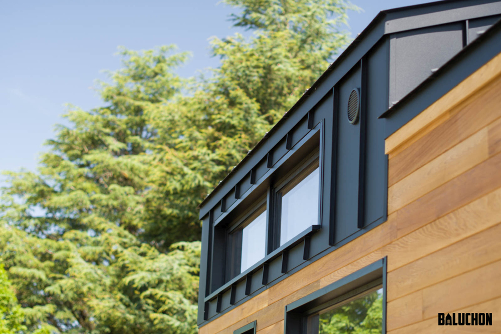 The black aluminum roof seamlessly blends into the loft walls
