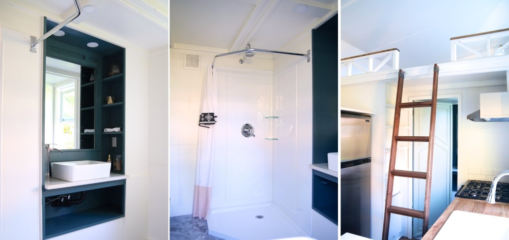 The bathroom underneath the loft has a corner shower and a stylish color palette