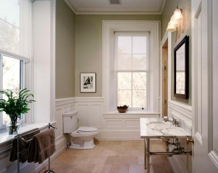Bathroom olive green walls