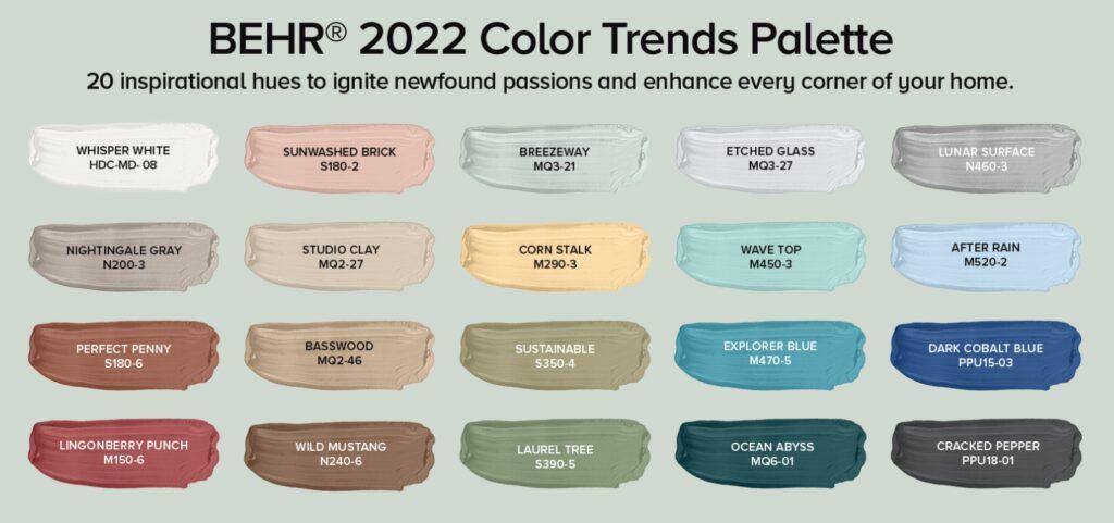 Behr Color Trends Palette 2022