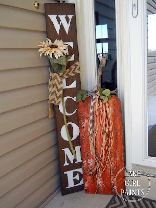 Fall Pumpkin Plank Decor
