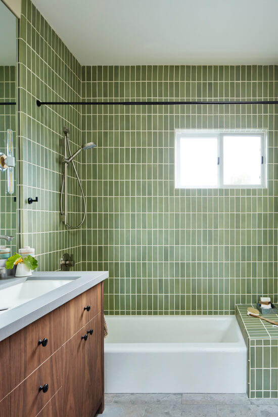 Green shower with vertical tiles