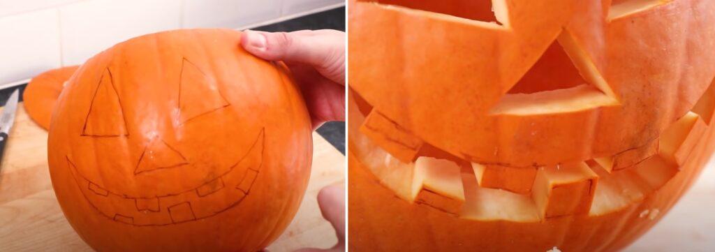 How do you carve a simple pumpkin face