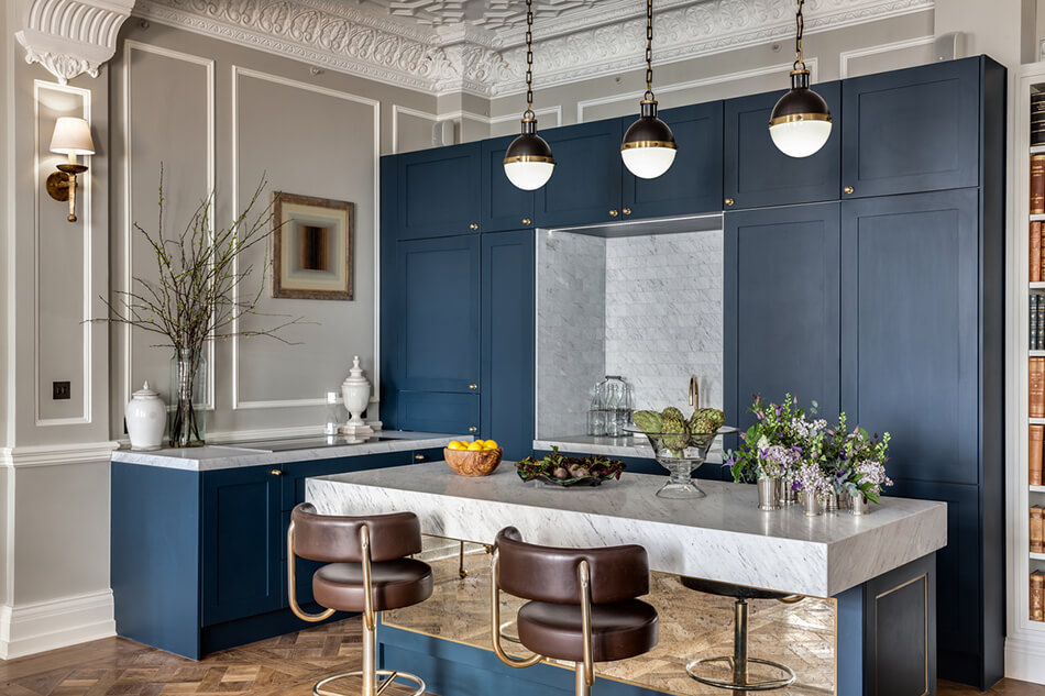 Modern with traditional blue cabinets and large countertop