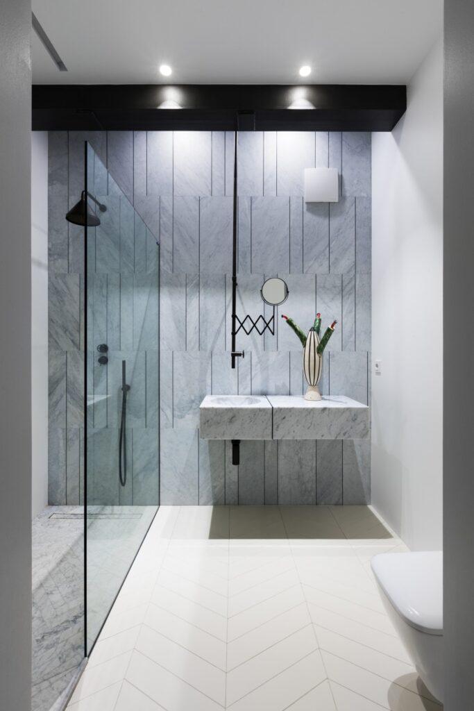 Stunning vertical tile shower