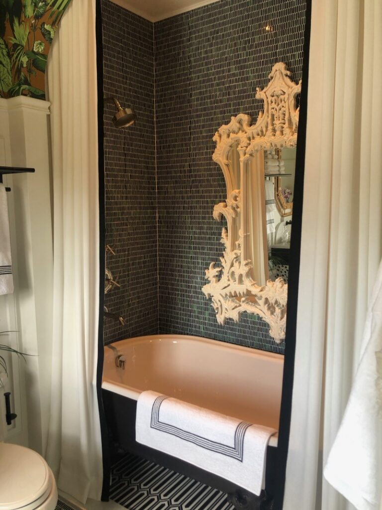 Shower curtains for tub and mirror above tub