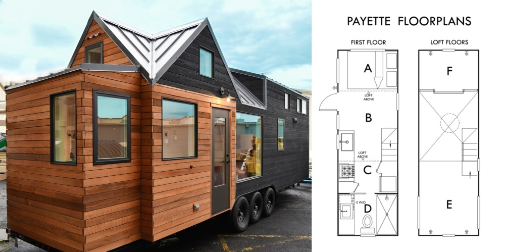 The interior floor plan of this tiny house adds up to 306 square feet of space (28 sqm)