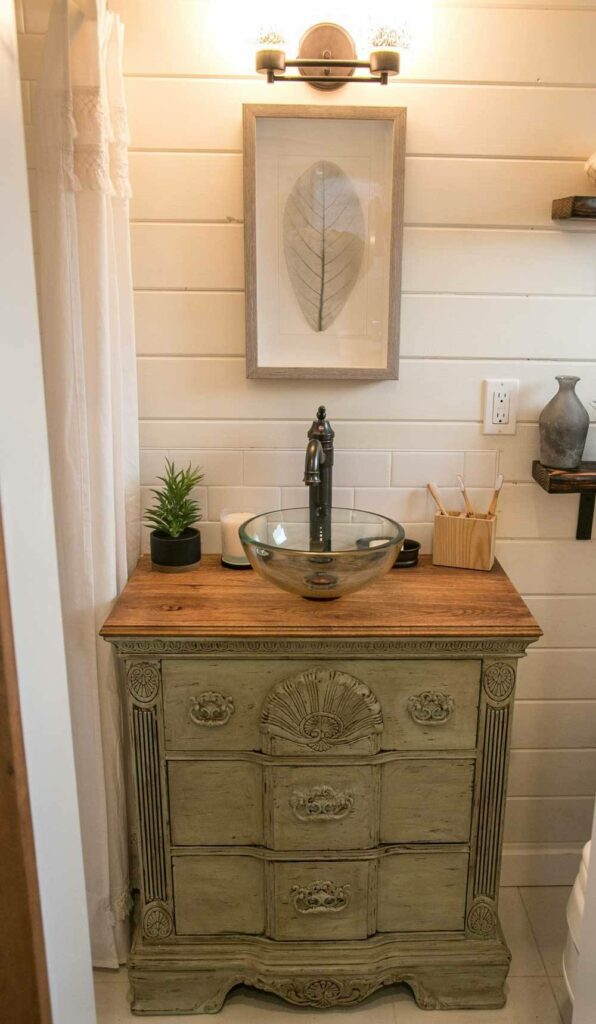 The bathroom features a very stylish, antique-style vanity with a small vessel sink