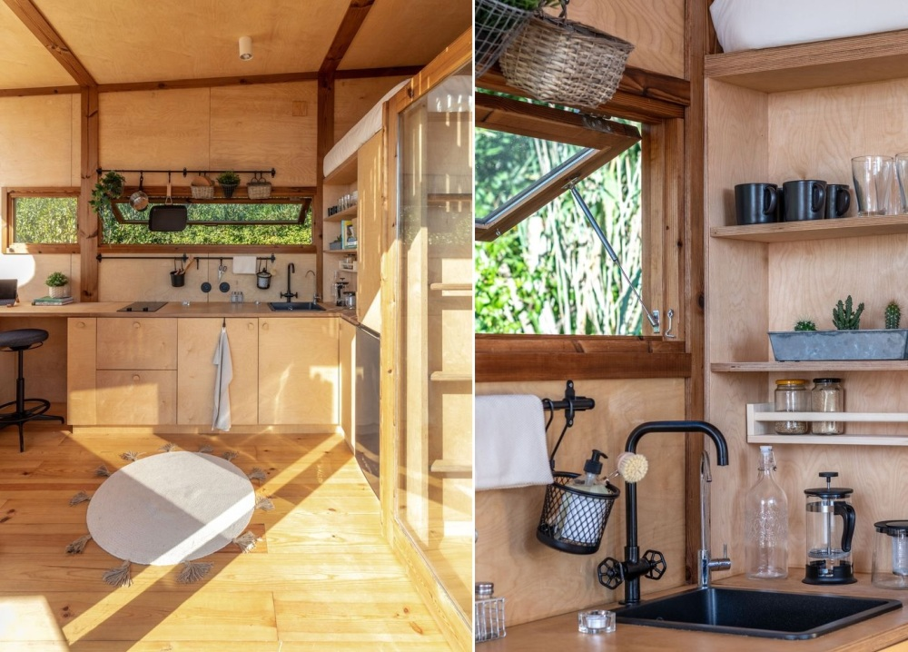 Open shelves add storage without making the small interior feel cluttered
