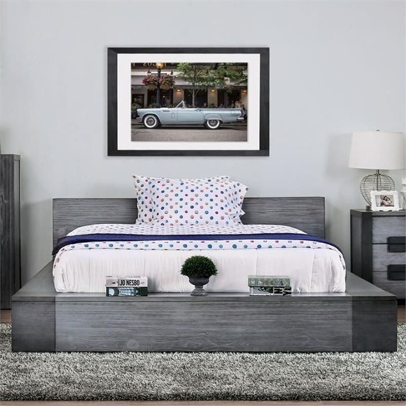 bedroom with shades of gray