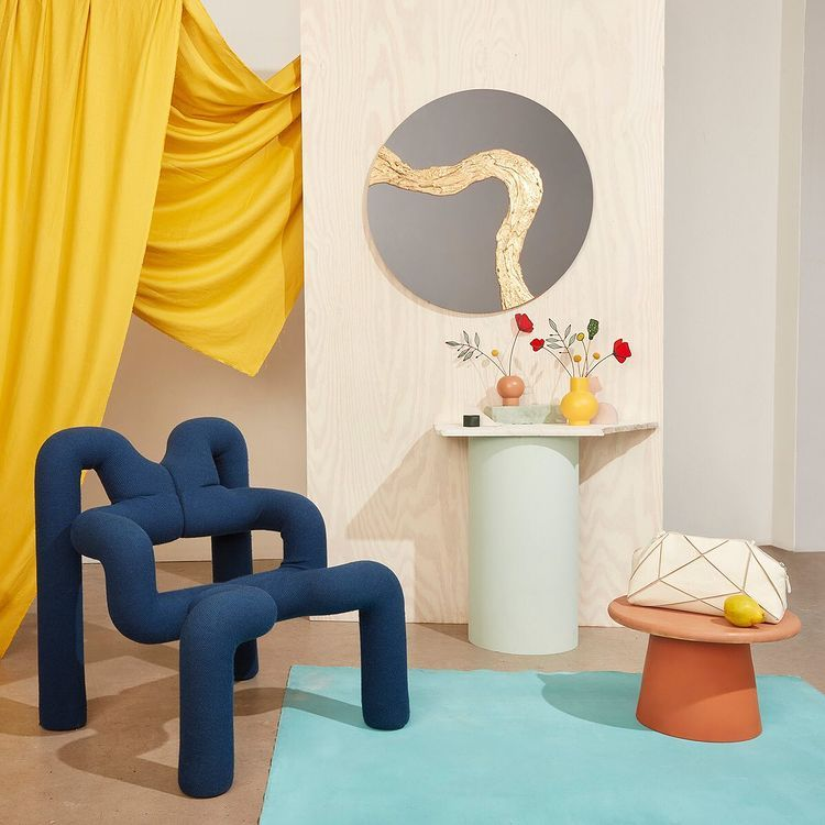 blue chair with geometric shapes