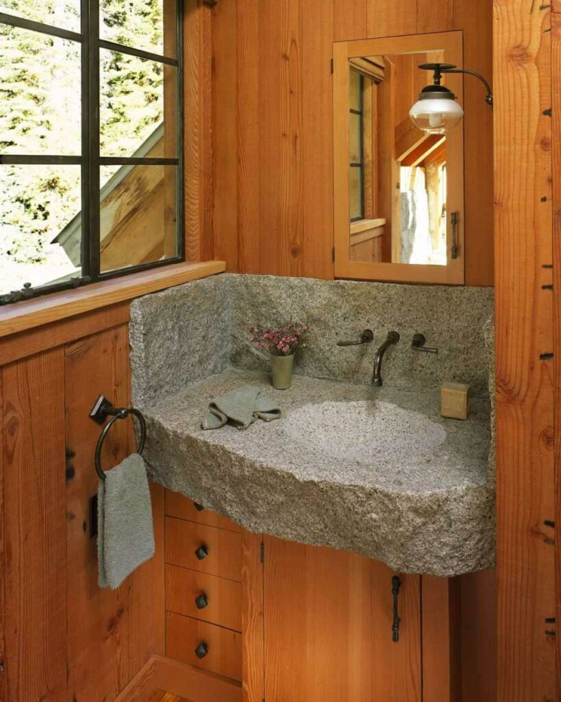 The combination between the rugged stone and the reclaimed wood is magnificent
