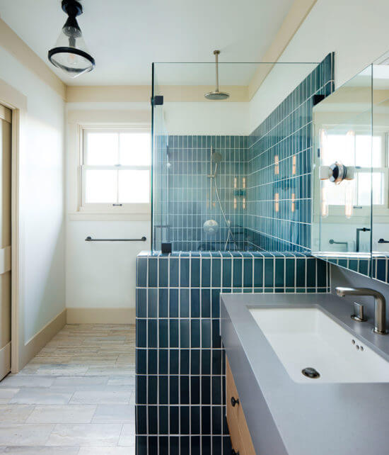 A classic bathroom design with cheerful tile accents
