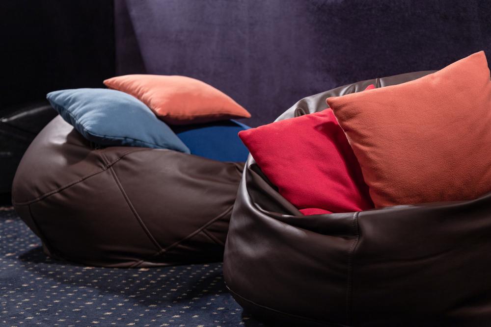 Large leather bean bag