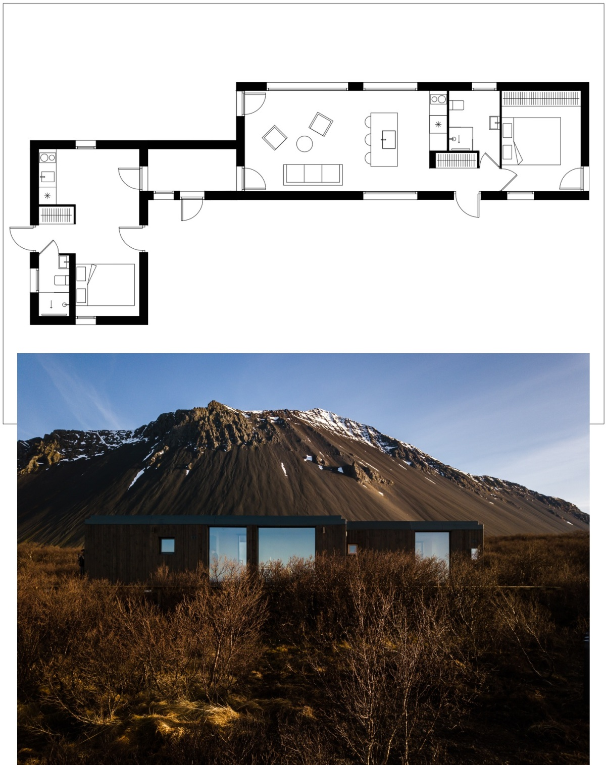 The low-profile frame, small size and flat roof were chosen in response to the landscape and climate of this region