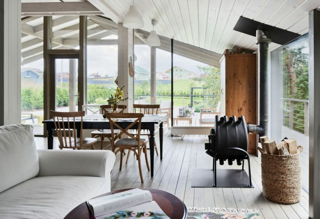 Having a large and open living area crucial so a shared open floor plan was chosen for it
