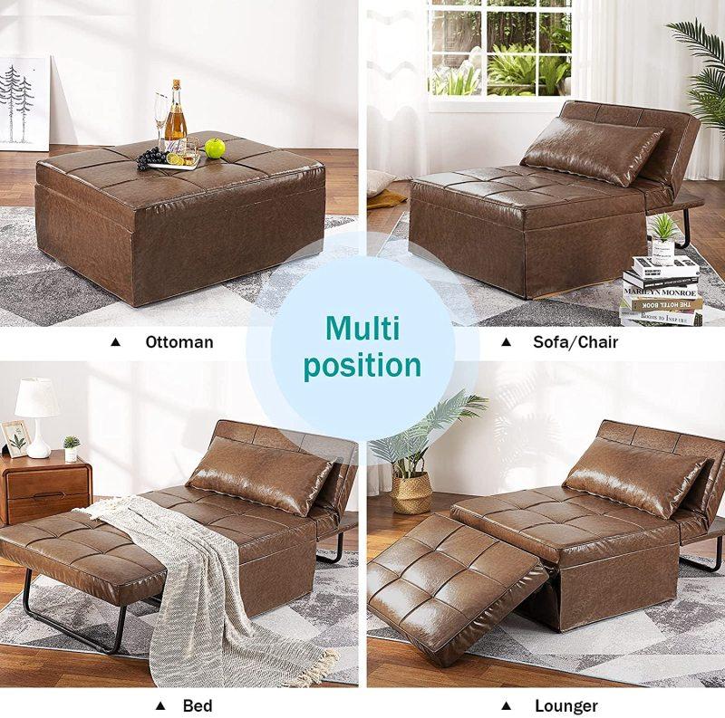 Vonanda Leather Ottoman Sleeper Chair Bed